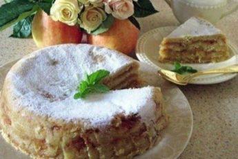 Болгарский пирог с яблоками «Три стакана».